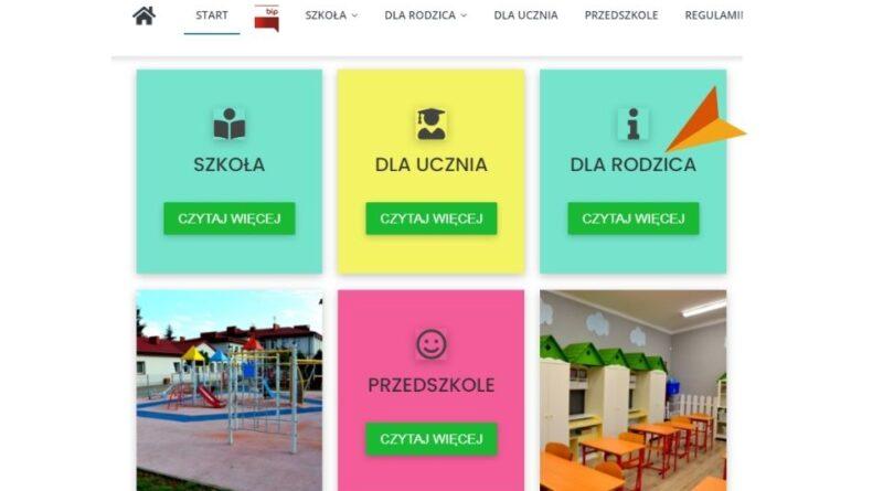 na białym tle rzut ekranu widok strony startowej strony www szkoły
